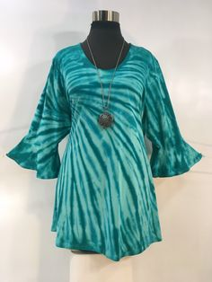 Plus size green tie dye bamboo top with flounced sleeves and scoop neck. by qualicumclothworks on Etsy Tie Dye Tops, Green Tie, Tie Dyed, Cotton Spandex, Bamboo, Scoop Neck, Plus Size, Fabric, Sleeves