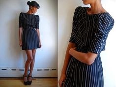 Vtg Pinstriped Khaki Black Pearl Buttoned Belted Retro Dress $29.99