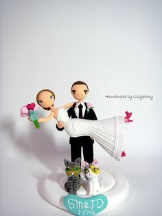 Honeymoon Jitters - Customized wedding cake topper with the cats