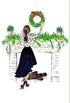 Send a little holiday perfection to a female friend with this Signature card, illustrated by Jamel Saliba from Melsy's Illustrations. Christmas Sketch, Christmas Drawing, Noel Christmas, Christmas Pictures, Vintage Christmas, Christmas Crafts, Christmas Decorations, Holiday Decor, Xmas