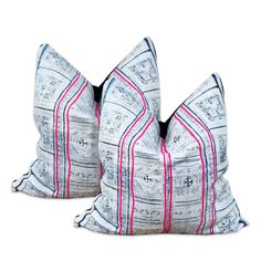 Sunbleached Indigo Hmong Pillow Pair | Furbish Studio