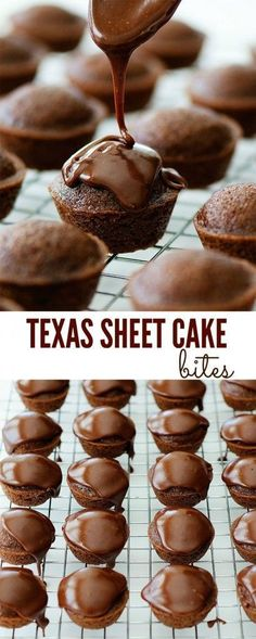 Texas Sheet Cake Bites recipe from Life in the Lofthouse. The delicious classic cake in bite-size form! Texas Sheet Cake Bites recipe from Life in the Lofthouse. The delicious classic cake in bite-size form! Mini Desserts, Finger Desserts, Bite Size Desserts, Just Desserts, Delicious Desserts, Bite Size Snacks, Bite Size Food, Mini Chocolate Desserts, Kosher Desserts
