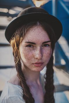 beautiful girl with freckles..