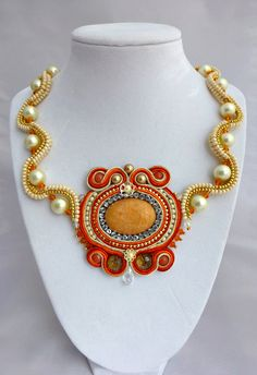 Soutache Peach Ivory and Orange Necklace by SpotsandDotsDesign, $65.00