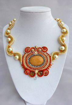 Soutache Peach Ivory and Orange Necklace by SpotsandDotsDesign, $65.00