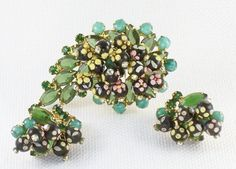 Vintage DeLizza and Elster Juliana Polka Dot Sugar Bead Brooch and Earrings Demi Parure