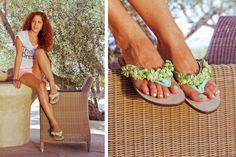 Hawaiian Dream Green Flip-flop! Have you ever been in Hawaii ?? Have a little taste!! BonbonSandals