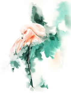 Pink Flamingo Watercolor Painting Art Print by CanotStopPrints