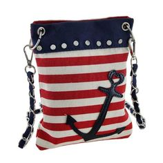 b2e1e14dc1fa Red White and Blue Striped Nautical Anchor Crossbody Purse Nautical  Fashion