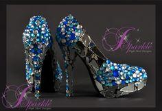 Black Pumps \ High Heels - MIRROR GLASS Cinderella   Mirror Glass Custom High Heel Pump, Shoes, Blue sea rhinestones glass ...