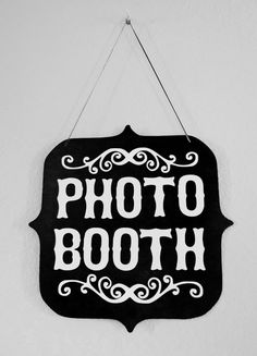 Black and White Photo Booth Sign (Custom Colors Available). $15.00, via Etsy.