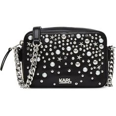 Karl Lagerfeld Embellished Leather Shoulder Bag (€250) ❤ liked on Polyvore featuring bags, handbags, shoulder bags, black, leather shoulder strap handbags, leather shoulder handbags, shoulder handbags, chain strap shoulder bag and chain purse