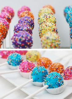 dipped doughnut holes! No bake cake pops! good idea without all the baking