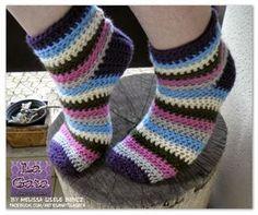 Meias de crochê / Medias crochet / Socks crochet - by LA GATA - Melissa Gisele Bencz - FREE PATTERN