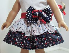 July 4th Party Dress for American Girl Doll