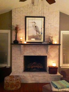 Fireplace painted with Amy Howard at Home One Step Paint in Bauhaus Buff along with  light and dark waxes.