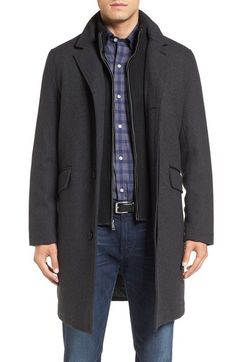 Cole Haan Wool Blend Overcoat with Knit Bib Inset available at #Nordstrom
