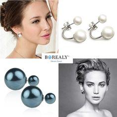 double pearl earings silver pearls jewelry borealy Pearl Jewelry, Pearl Earrings, Silver Pearls, Pearl Studs, Beaded Jewelry, Bead Earrings, Beaded Earrings, Pearl Decorations, Pearl Stud Earrings