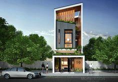 Thiết kế mặt tiền nhà phố hiện đại đẹp House Front Design, Small House Design, Modern House Design, Building Facade, Building Design, Building A House, Facade Design, Exterior Design, Architecture Design