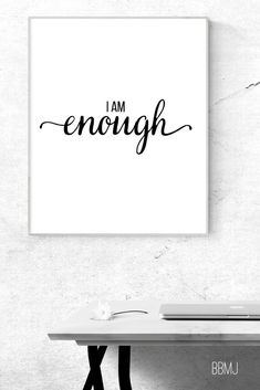 This Typographic printable wall art, in black and white, is a fabulous reminder of your self-worth. Mj Quotes, Wall Art Quotes, Motivational Quotes, Inspirational Quotes, Faith Quotes, Enough Is Enough Quotes, I Am Enough, Positive Motivation, Self Motivation