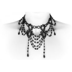Gothic choker made from black beads, by Restyle jewelry. Classic goth elegance inspired by the Victorian era.