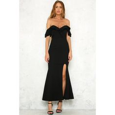 Stone Roses Maxi Dress Black (945 PHP) ❤ liked on Polyvore featuring dresses, gowns, v neckline dress, maxi dress, maxi gowns, v neck maxi dress and formal evening dresses