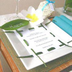 Décoration de mariage sur le thème exotique : Fleur de frangipanier et menu exotique