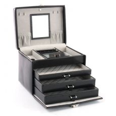 Davidts Chrome Leather Black Medium 3 Drawer Jewellery Box