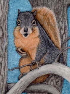 Squirrel ACEO Art ORIGINAL Fox Squirrel Mixed Media Painting Sherry Goeben #Miniature