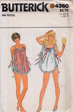 1970s Butterick 4360 Misses Lace Trimmed Shortie Nightgown and Panties by mbchills