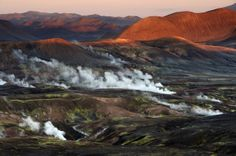 A general view shows the hot spring area of the Fjallabak Nature Reserve from Haarberg Photography/Barcoft Media)  Iceland From Above: A Birds Eye View From 9,000ft (PICTURES)