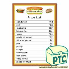 Sandwich Shop Role Play Resources - Primary Treasure Chest Shop Price, Price List, Teaching Activities, Teaching Ideas, Ourselves Topic, Sandwich Shops, Ciabatta, Treasure Chest, Sandwiches