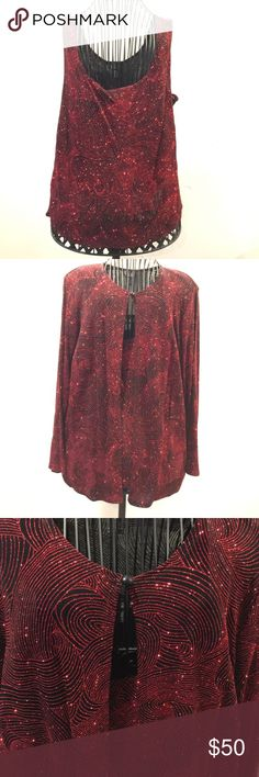 2 piece Glittered set Dress Barn Tank and Jacket 🎉2 piece 🎉Glittered set Dress Barn Tank and Jacket with shoulder pads Vintage. Excellent condition never worn. Size 14/16 perfect for Holiday Party 🎉 Dress Barn Tops
