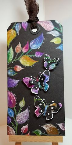 Eileen's Crafty Zone: Dylusions Stamps and a Quickutz Butterfly make a Black Magic Tag