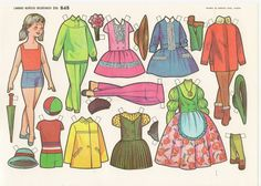 muñecas recortables, paper dolls, Бумажные куклы , bambole da carta, Reuse Old Clothes, Old Baby Clothes, Winter Clothes, Doll Clothes, Rock Outfits, Vintage Paper Dolls, All Paper, Clothes Crafts, Paper Models