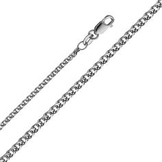 14k White Gold 1.5mm Flat Open wheat Chain Necklace with Lobster Claw Clasp - 24""