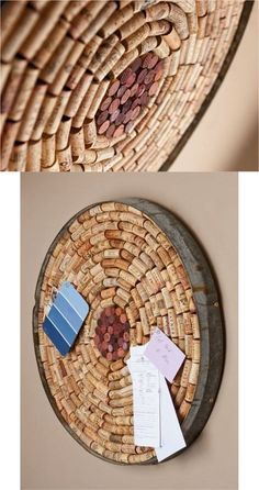 """Perfect for any wine lover, this unique bulletin board has been handcrafted from an authentic Napa Valley wine barrel and includes the metal barrel band. Approximately 23"""" in diameter and filled with a variety of wine corks, it's a show-stopper. 