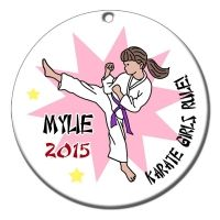 Karate or Martial Arts Girl Christmas Ornament - Kick Design