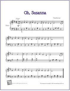 Oh, Susanna | Free Sheet Music for Easy Piano - http://makingmusicfun.net/htm/f_printit_free_printable_sheet_music/oh_susanna_piano.htm