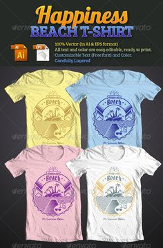 Happiness Beach T-Shirt Template Vector EPS, AI. Download here: http://graphicriver.net/item/happiness-beach-tshirt/4817080?ref=ksioks