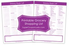 FREE Printable Grocery Shopping Lists! Choose blank or one with common items! I keep it on my fridge to add items as needed! http://www.supercouponlady.com/2014/01/free-printable-grocery-shopping-lists.html/