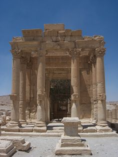 Temple of Baal Shamin at Palmyra (I)  Frontal view of the Temple of Baal Shamin at Palmyra, Syria. by Erik Hermans (2008)