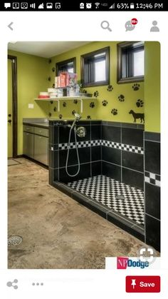 Great idea for a dog wash. Contemporary Mud Room with Daltile Plaza Nova Black Shadow 12 in. x 24 in. Porcelain Floor and Wall Tile, Paint flat door Dog Grooming Shop, Dog Grooming Salons, Dog Grooming Business, Dog Boarding Kennels, Pet Boarding, Dog Kennels, Dog Kennel Designs, Kennel Ideas, Dog Washing Station