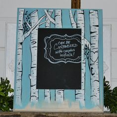 Hand painted birch tree frame