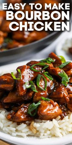 Mar 2020 - Bourbon chicken is an easy homemade version of a food-court favorite! Chicken thighs are tossed in a tangy sauce and served over rice for the perfect copy-cat version! Food Court, Asian Recipes, Healthy Recipes, Sauce For Chicken, Chicken Over Rice, Yum Yum Chicken, Food Dishes, Main Dishes, Chicken Thighs