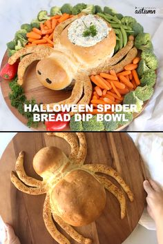 This spider bread dip bowl in an adorable Halloween appetizer! And since it starts with frozen rolls, it's easier to make than you'd think. This Spider bread dip bowl in an adorable Halloween appetizer that's easier to make than you think! Halloween Desserts, Halloween Party Snacks, Halloween Cupcakes, Plat Halloween, Halloween Fingerfood, Postres Halloween, Halloween Cocktails, Fete Halloween, Halloween Dinner