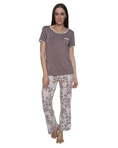 92198d7b Kathy Ireland Women's 2 Piece Short Sleeve Sleep Shirt with Long Pants  Pajama Set