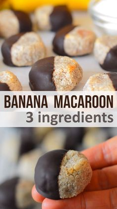recipe for healthy macaroons made from just banana, coconut and chocolate. Great little healthy snack thats paleo, gluten-free, vegan and sugar free videos deserts recipe healthy Chocolate Banana Coconut Macaroons Healthy Desserts, Dessert Recipes, Healthy Gluten Free Snacks, Healthy Chocolate Snacks, Healthy Sweet Snacks, Easy Vegan Snack, Healthy Nutrition, Recipes For Snacks, Recipes With Dates Healthy