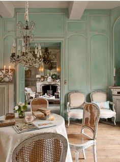 French Dining Room in Turquoise and Neutral Tones