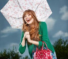 Bleached flowers superslim umbrella | Green stitch cardigan | Wild strawberry blue dress. From Cath Kidston's BEST IN SHOW: Spring 2013 #spring #fashion #accessories